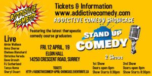 Addictive Comedy therapeutic Comedy show April 2019 Elgin Hall